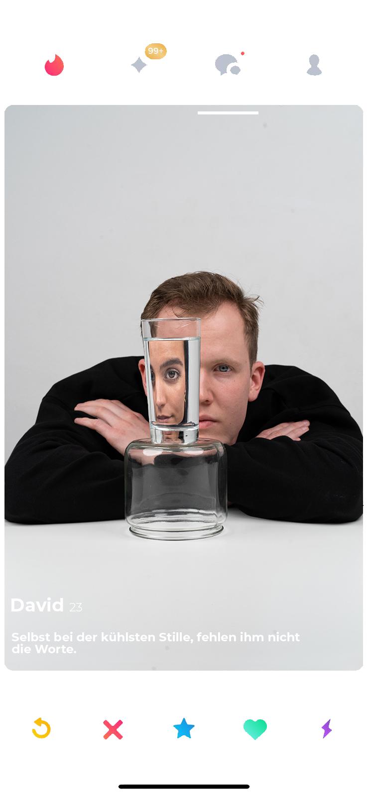 david tinderrahmen glas