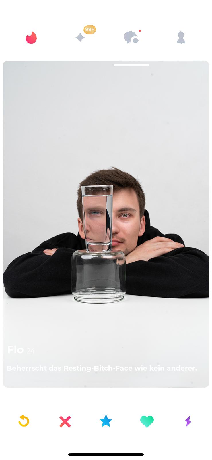 flo tinderrahmen glas